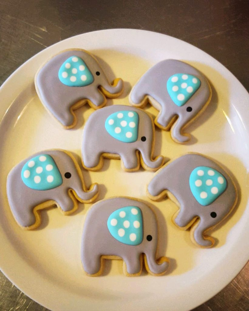 Baby Shower Elephant Cookies Frosted Just For You